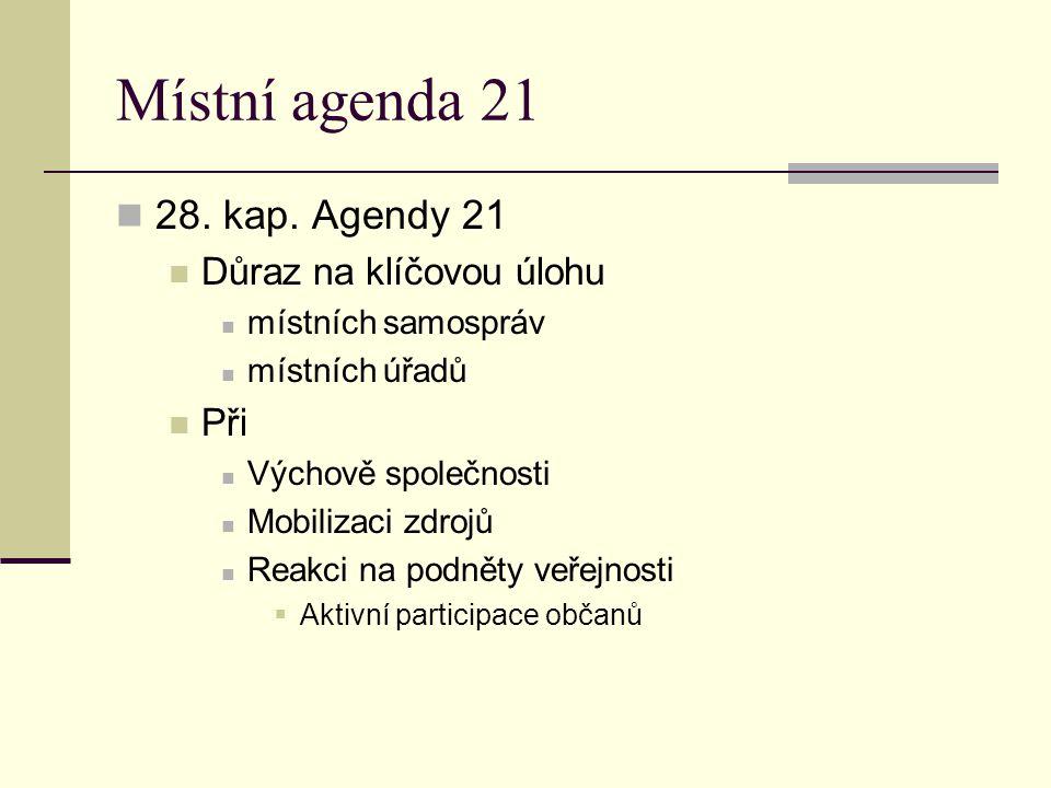 Místní agenda 21 28. kap. Agendy 21 Důraz na klíčovou úlohu místních samospráv místních úřadů Při Výchově společnosti Mobilizaci zdrojů Reakci na podn