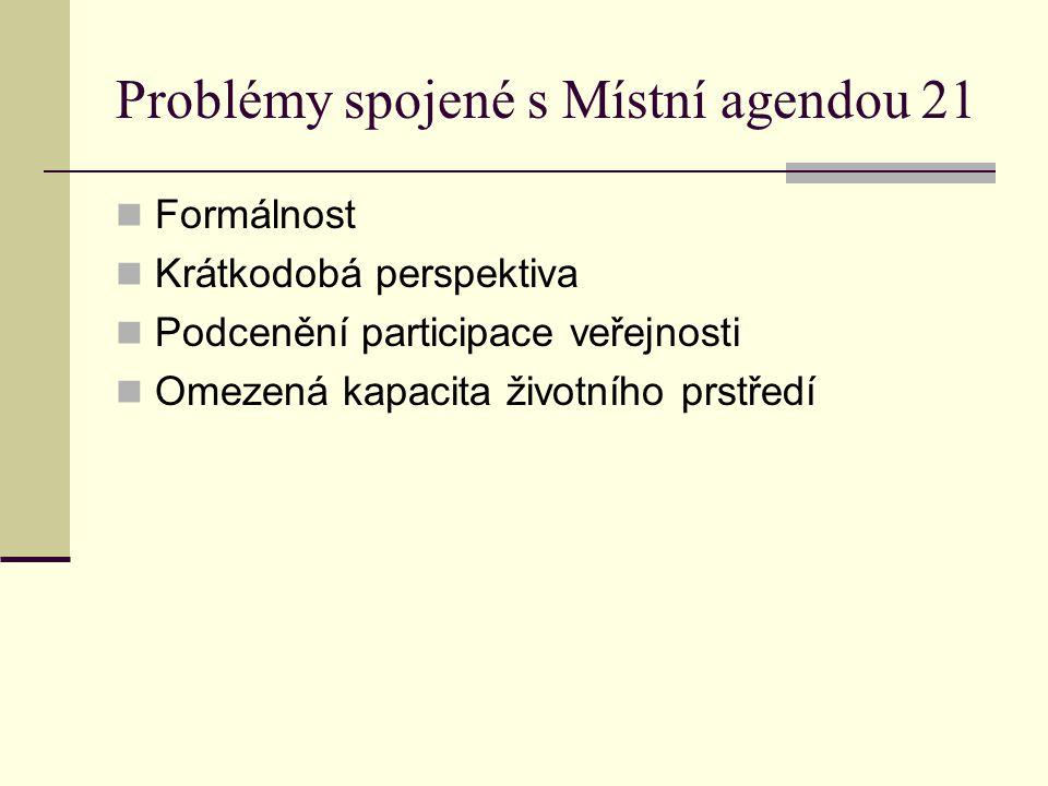 Problémy spojené s Místní agendou 21 Formálnost Krátkodobá perspektiva Podcenění participace veřejnosti Omezená kapacita životního prstředí