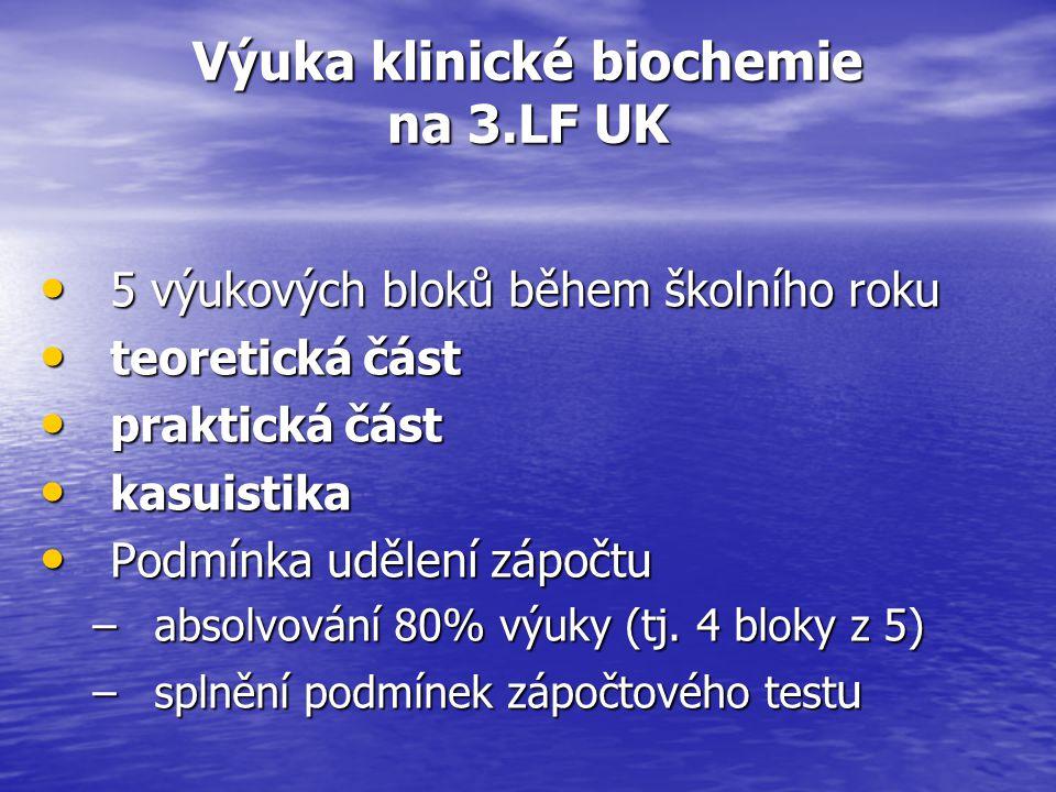 Formy zkoušení z klinické biochemie Testy retenčního minima - tzv.