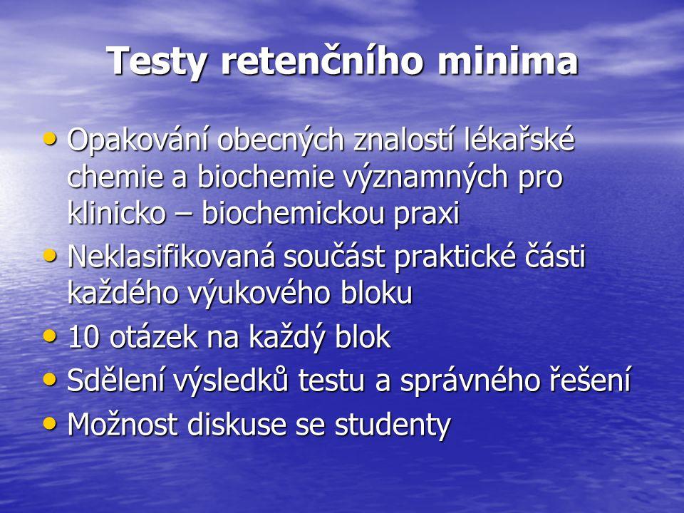 Testy retenčního minima Opakování obecných znalostí lékařské chemie a biochemie významných pro klinicko – biochemickou praxi Opakování obecných znalostí lékařské chemie a biochemie významných pro klinicko – biochemickou praxi Neklasifikovaná součást praktické části každého výukového bloku Neklasifikovaná součást praktické části každého výukového bloku 10 otázek na každý blok 10 otázek na každý blok Sdělení výsledků testu a správného řešení Sdělení výsledků testu a správného řešení Možnost diskuse se studenty Možnost diskuse se studenty