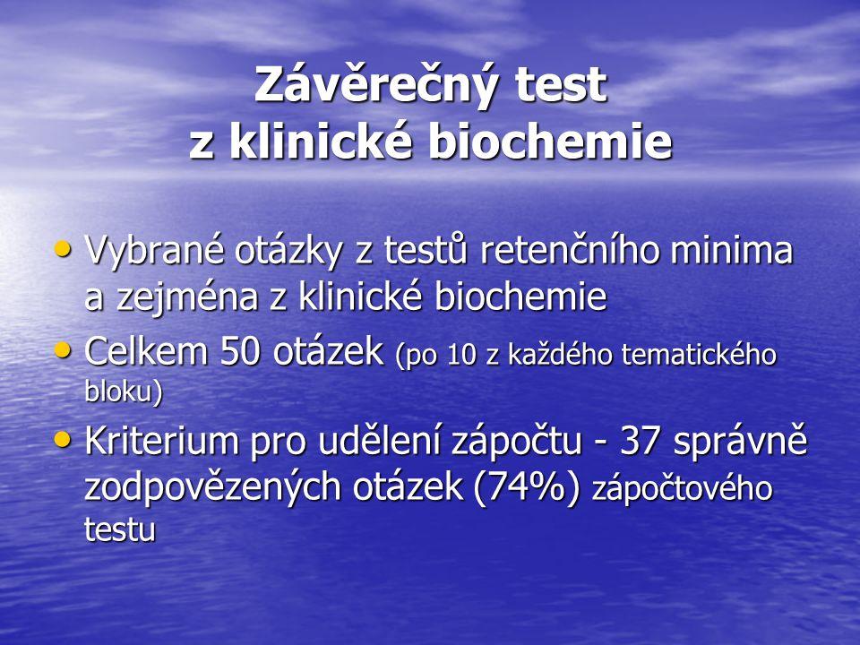 Hodnocení závěrečného testu z klinické biochemie (VI.) Šestý test - ze 17 studentů uspělo 8 (tj.