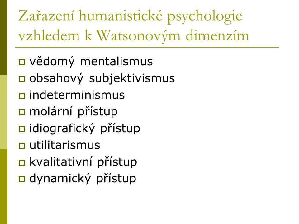 Zařazení humanistické psychologie vzhledem k Watsonovým dimenzím  vědomý mentalismus  obsahový subjektivismus  indeterminismus  molární přístup  idiografický přístup  utilitarismus  kvalitativní přístup  dynamický přístup