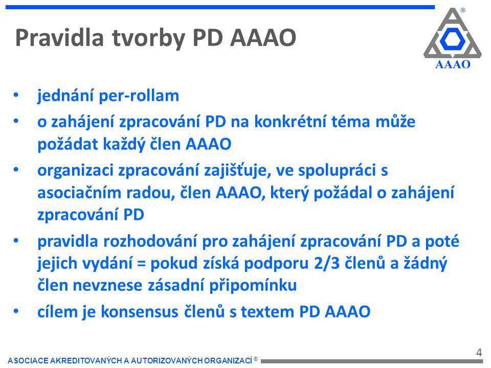 4 ASOCIACE AKREDITOVANÝCH A AUTORIZOVANÝCH ORGANIZACÍ ® Pravidla tvorby PD AAAO jednání per-rollam o zahájení zpracování PD na konkrétní téma může požádat každý člen AAAO organizaci zpracování zajišťuje, ve spolupráci s asociačním radou, člen AAAO, který požádal o zahájení zpracování PD pravidla rozhodování pro zahájení zpracování PD a poté jejich vydání = pokud získá podporu 2/3 členů a žádný člen nevznese zásadní připomínku cílem je konsensus členů s textem PD AAAO