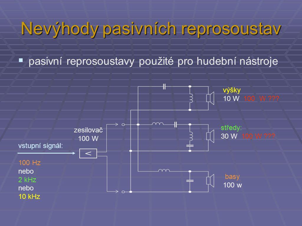 Nevýhody pasivních reprosoustav  pasivní reprosoustavy použité pro hudební nástroje výšky 10 W 100 W .