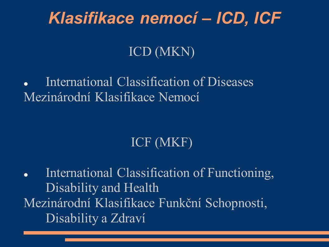 Klasifikace nemocí – ICD, ICF ICD (MKN) International Classification of Diseases Mezinárodní Klasifikace Nemocí ICF (MKF) International Classification of Functioning, Disability and Health Mezinárodní Klasifikace Funkční Schopnosti, Disability a Zdraví
