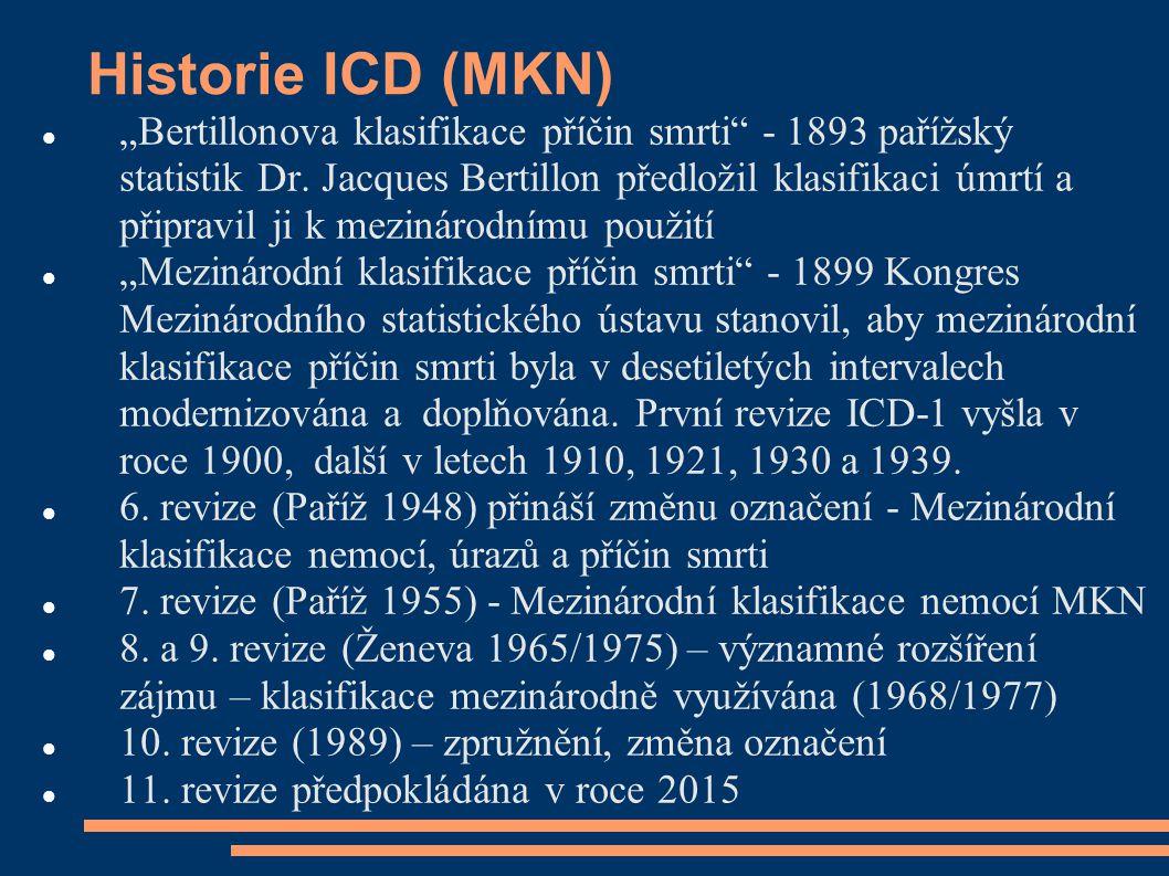 """Historie ICD (MKN) """"Bertillonova klasifikace příčin smrti"""" - 1893 pařížský statistik Dr. Jacques Bertillon předložil klasifikaci úmrtí a připravil ji"""