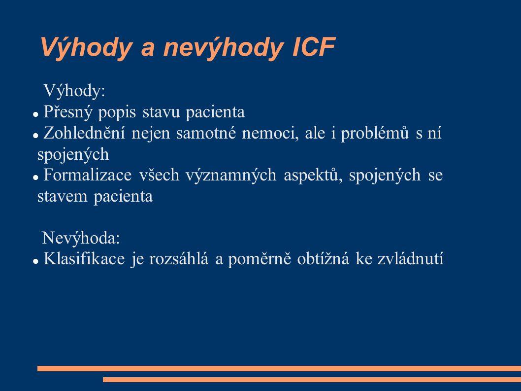 Výhody a nevýhody ICF Výhody: Přesný popis stavu pacienta Zohlednění nejen samotné nemoci, ale i problémů s ní spojených Formalizace všech významných aspektů, spojených se stavem pacienta Nevýhoda: Klasifikace je rozsáhlá a poměrně obtížná ke zvládnutí