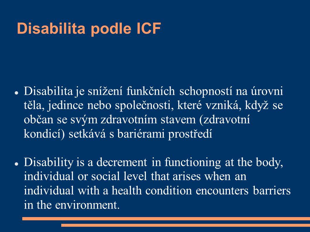 Disabilita podle ICF Disabilita je snížení funkčních schopností na úrovni těla, jedince nebo společnosti, které vzniká, když se občan se svým zdravotním stavem (zdravotní kondicí) setkává s bariérami prostředí Disability is a decrement in functioning at the body, individual or social level that arises when an individual with a health condition encounters barriers in the environment.