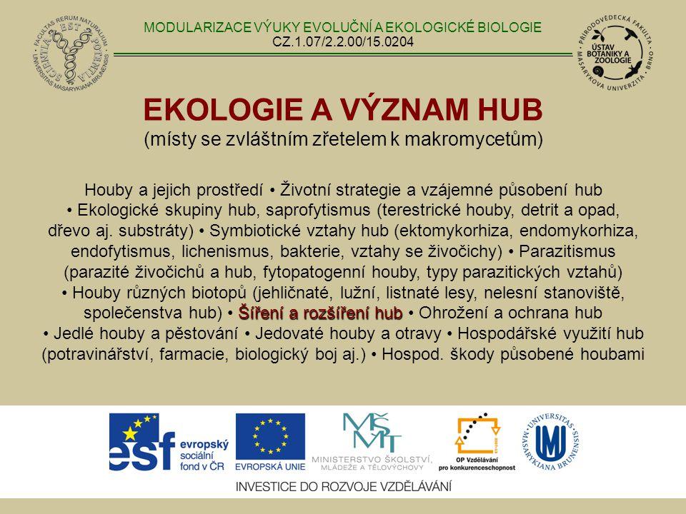 EKOLOGIE A VÝZNAM HUB (místy se zvláštním zřetelem k makromycetům) Šíření a rozšíření hub Houby a jejich prostředí Životní strategie a vzájemné působe