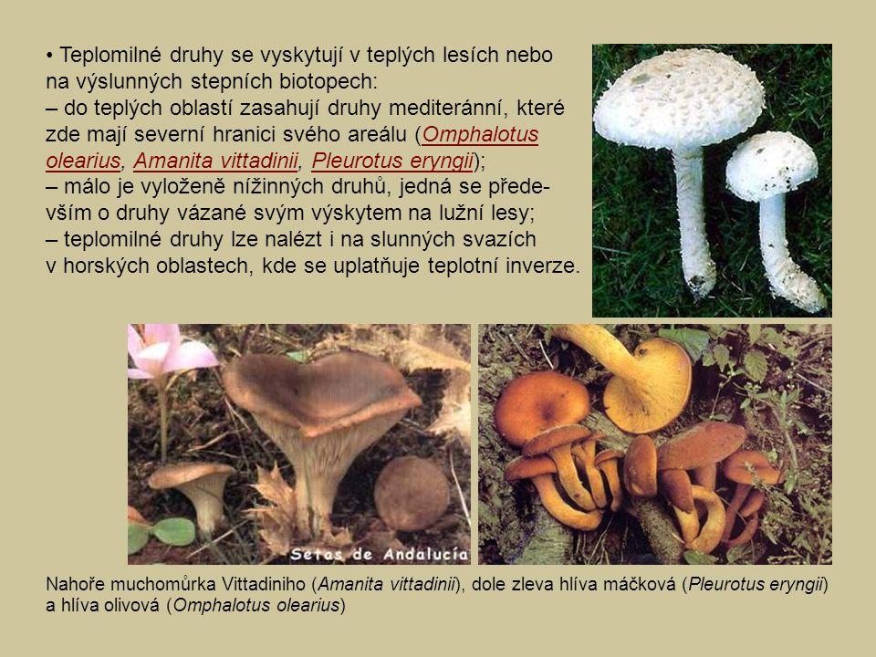 Teplomilné druhy se vyskytují v teplých lesích nebo na výslunných stepních biotopech: – do teplých oblastí zasahují druhy mediteránní, které zde mají