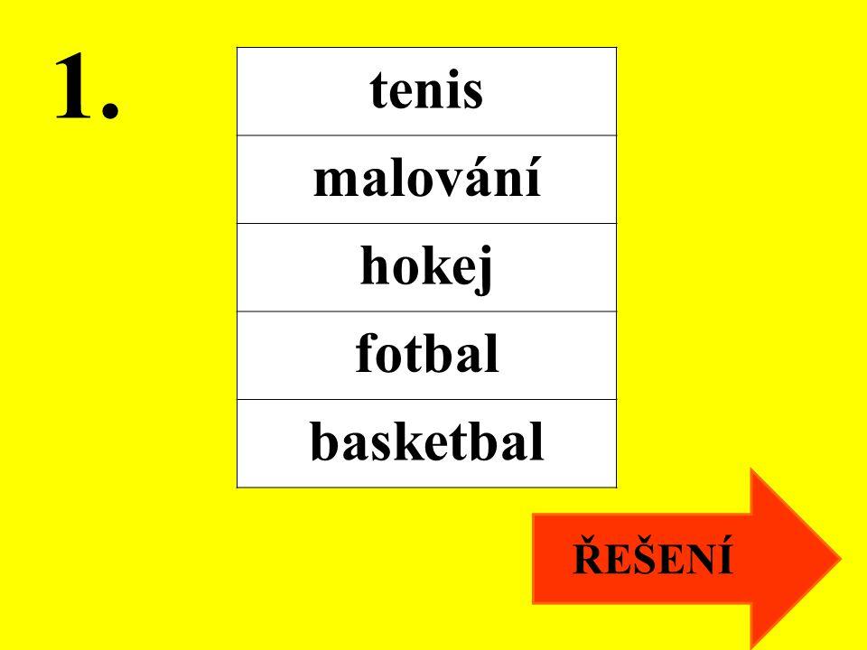 1. ŘEŠENÍ tenis malování hokej fotbal basketbal