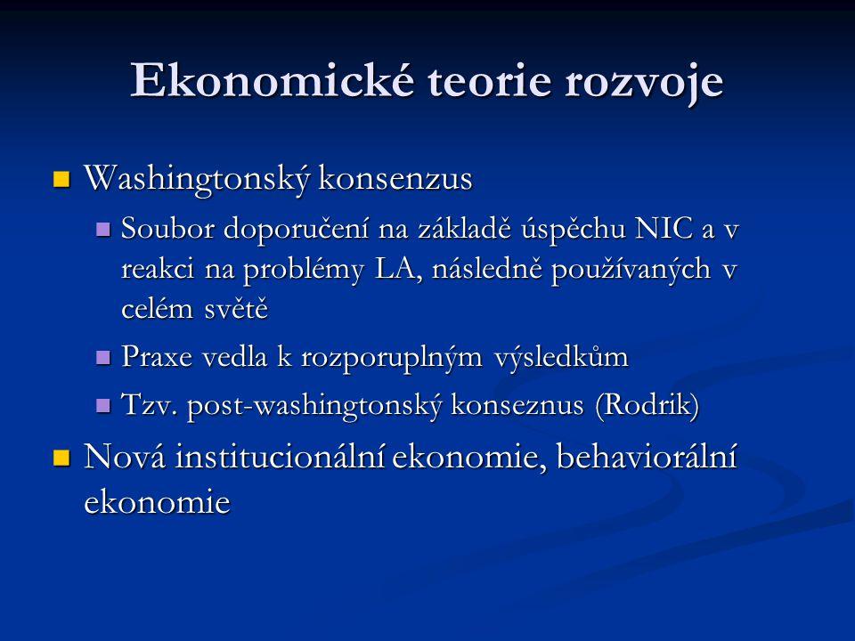 Ekonomické teorie rozvoje Washingtonský konsenzus Washingtonský konsenzus Soubor doporučení na základě úspěchu NIC a v reakci na problémy LA, následně