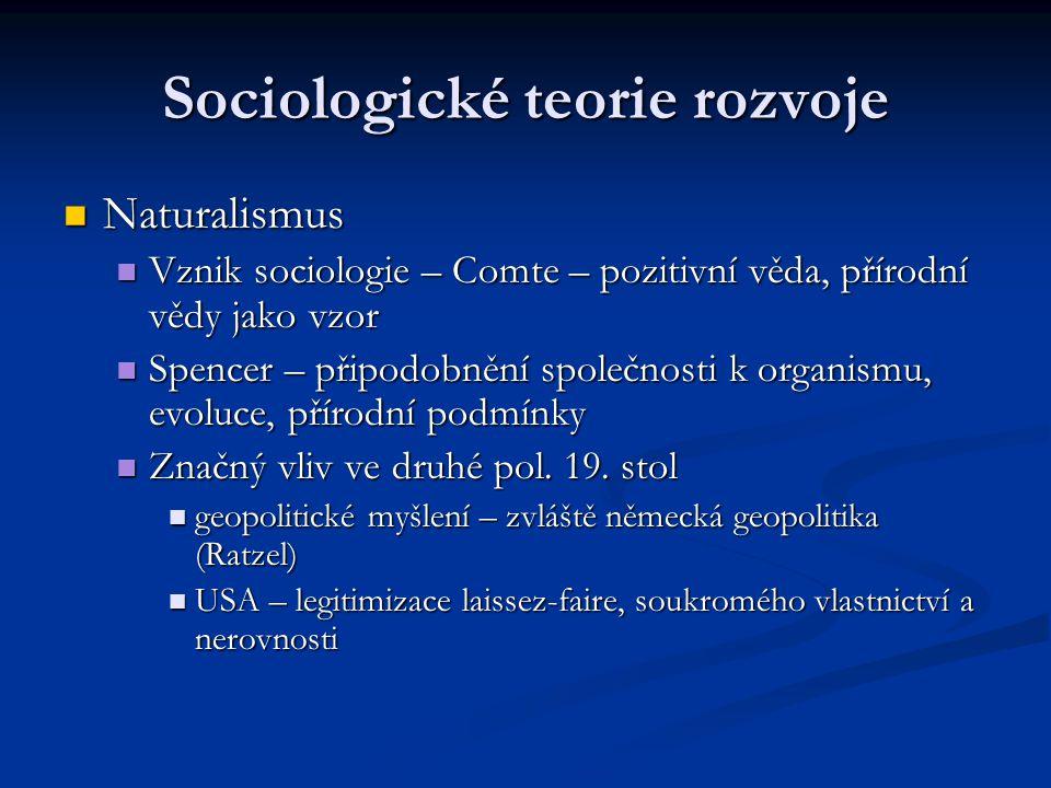 Sociologické teorie rozvoje Naturalismus Naturalismus Vznik sociologie – Comte – pozitivní věda, přírodní vědy jako vzor Vznik sociologie – Comte – po
