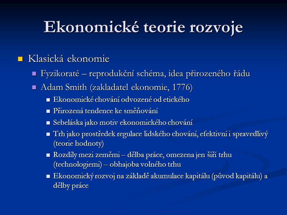 Ekonomické teorie rozvoje Klasická ekonomie Klasická ekonomie Fyzikoraté – reprodukční schéma, idea přirozeného řádu Fyzikoraté – reprodukční schéma,