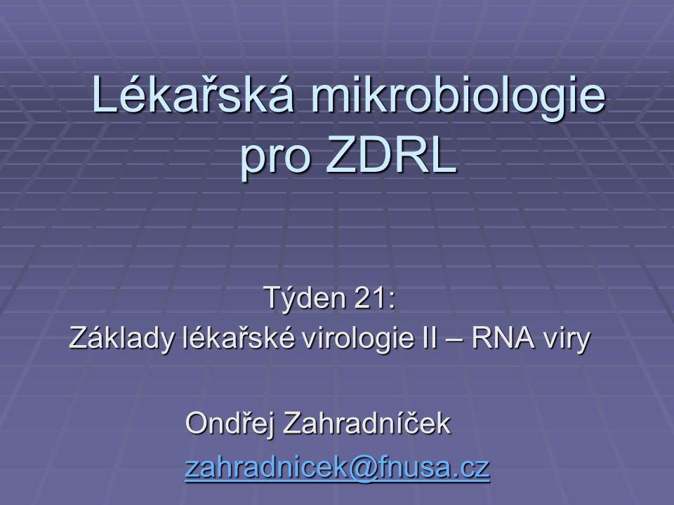 Lékařská mikrobiologie pro ZDRL Týden 21: Základy lékařské virologie II – RNA viry Ondřej Zahradníček zahradnicek@fnusa.cz