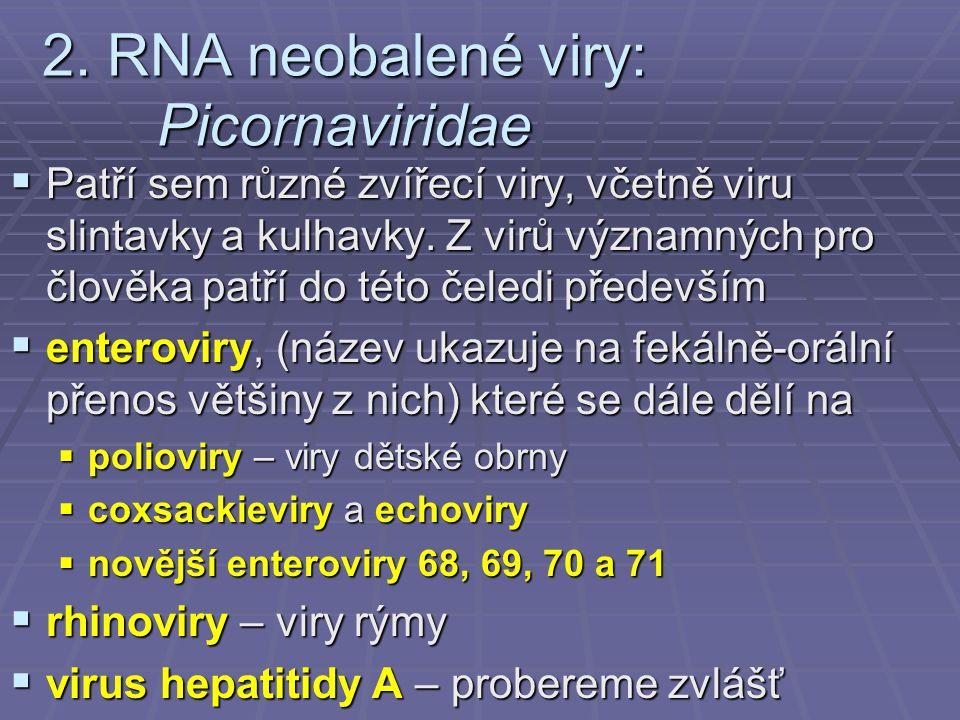 2. RNA neobalené viry: Picornaviridae  Patří sem různé zvířecí viry, včetně viru slintavky a kulhavky. Z virů významných pro člověka patří do této če