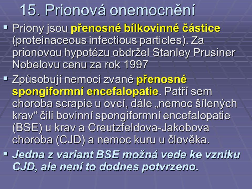15. Prionová onemocnění  Priony jsou přenosné bílkovinné částice (proteinaceous infectious particles). Za prionovou hypotézu obdržel Stanley Prusiner