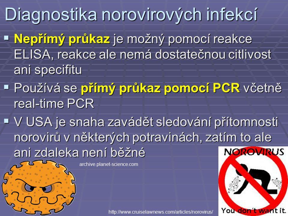 Diagnostika norovirových infekcí  Nepřímý průkaz je možný pomocí reakce ELISA, reakce ale nemá dostatečnou citlivost ani specifitu  Používá se přímý průkaz pomocí PCR včetně real-time PCR  V USA je snaha zavádět sledování přítomnosti norovirů v některých potravinách, zatím to ale ani zdaleka není běžné http://www.cruiselawnews.com/articles/norovirus/ archive.planet-science.com