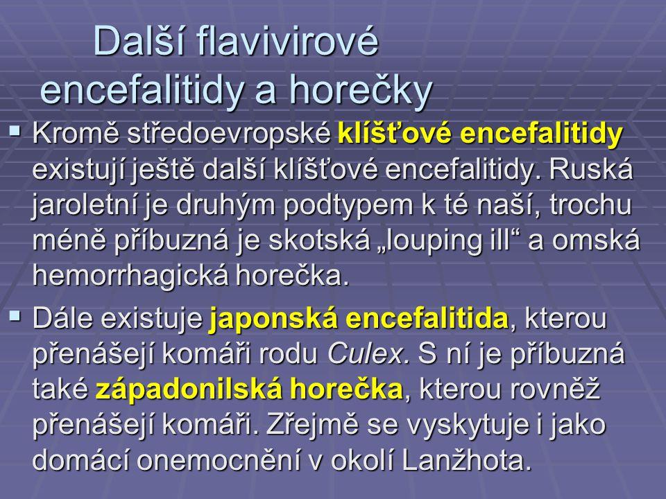 Další flavivirové encefalitidy a horečky  Kromě středoevropské klíšťové encefalitidy existují ještě další klíšťové encefalitidy.