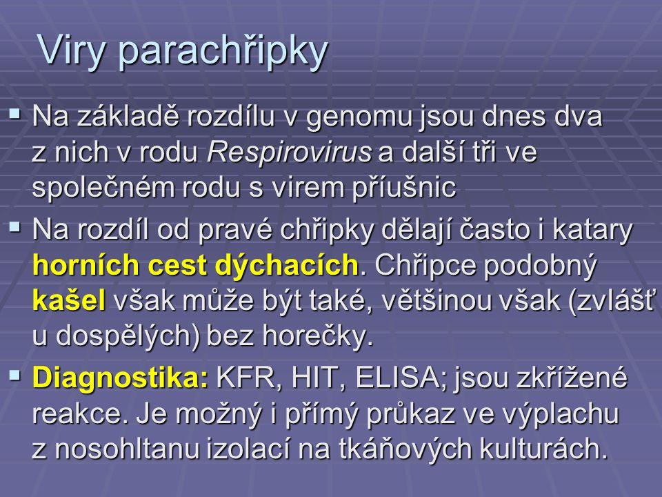 Viry parachřipky  Na základě rozdílu v genomu jsou dnes dva z nich v rodu Respirovirus a další tři ve společném rodu s virem příušnic  Na rozdíl od pravé chřipky dělají často i katary horních cest dýchacích.