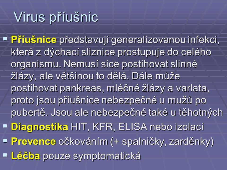 Virus příušnic  Příušnice představují generalizovanou infekci, která z dýchací sliznice prostupuje do celého organismu.
