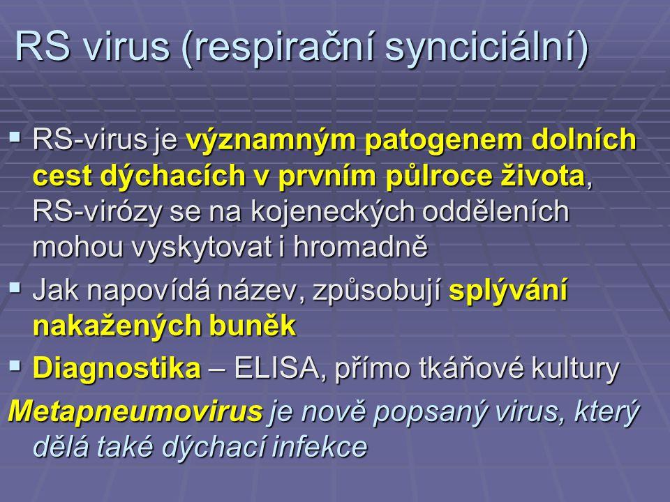 RS virus (respirační synciciální)  RS-virus je významným patogenem dolních cest dýchacích v prvním půlroce života, RS-virózy se na kojeneckých odděleních mohou vyskytovat i hromadně  Jak napovídá název, způsobují splývání nakažených buněk  Diagnostika – ELISA, přímo tkáňové kultury Metapneumovirus je nově popsaný virus, který dělá také dýchací infekce
