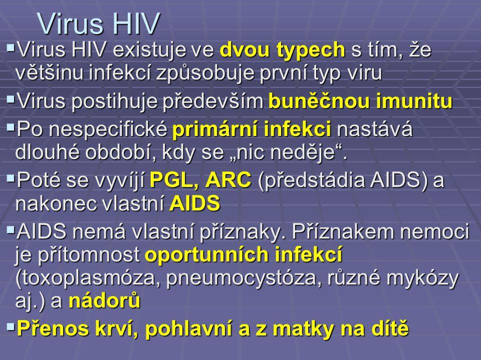 """Virus HIV  Virus HIV existuje ve dvou typech s tím, že většinu infekcí způsobuje první typ viru  Virus postihuje především buněčnou imunitu  Po nespecifické primární infekci nastává dlouhé období, kdy se """"nic neděje ."""