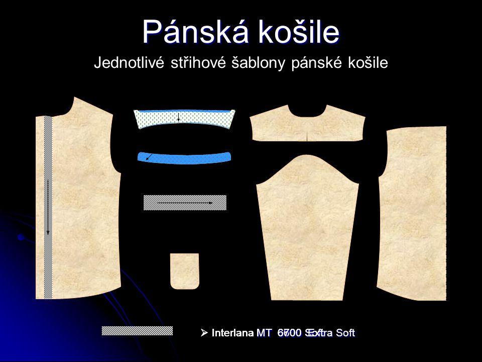 Pánská košile Jednotlivé střihové šablony pánské košile