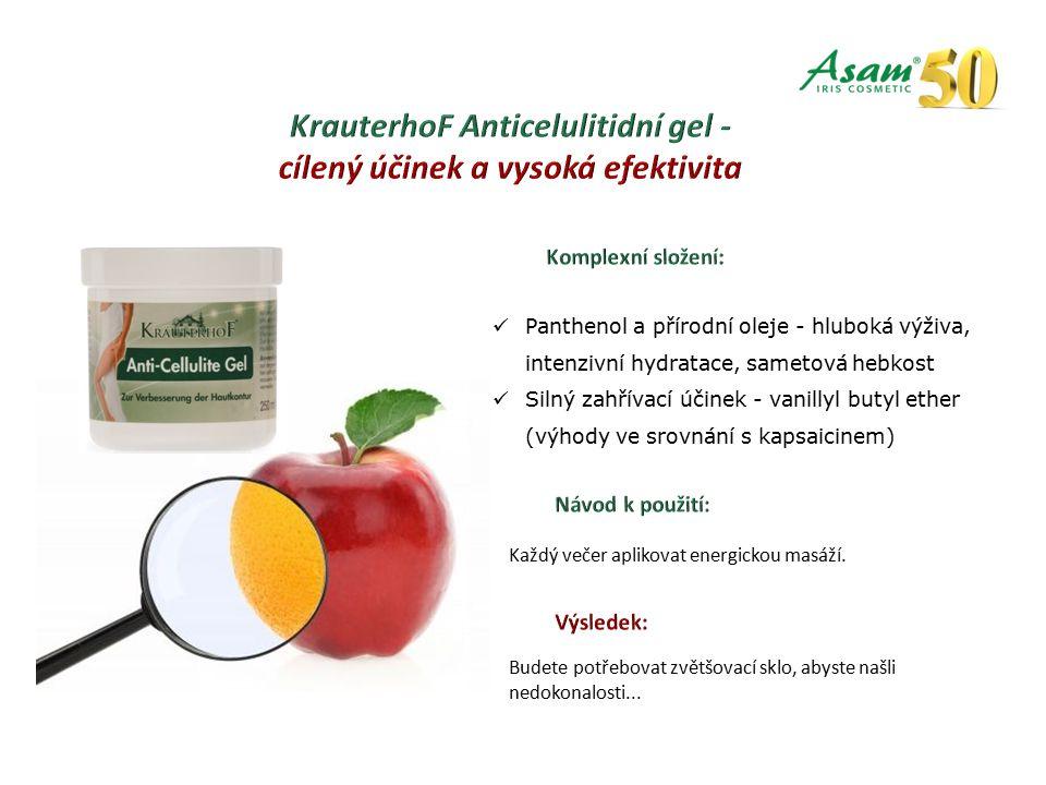 Panthenol a přírodní oleje - hluboká výživa, intenzivní hydratace, sametová hebkost Silný zahřívací účinek - vanillyl butyl ether (výhody ve srovnání s kapsaicinem) Každý večer aplikovat energickou masáží.
