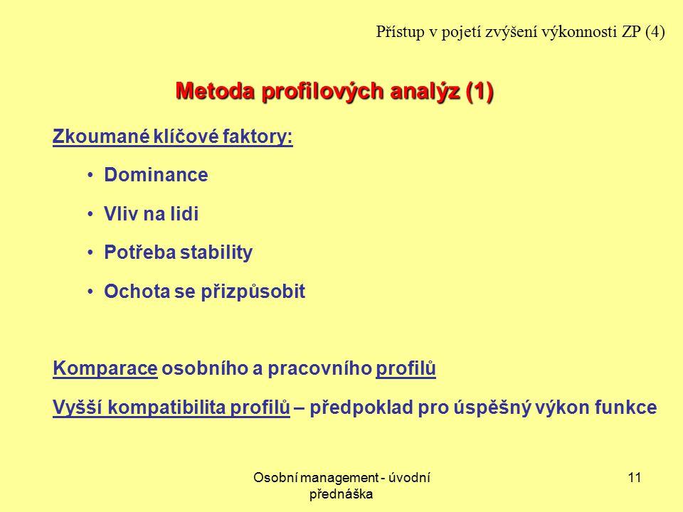 Osobní management - úvodní přednáška 11 Metoda profilových analýz (1) Zkoumané klíčové faktory: Dominance Vliv na lidi Potřeba stability Ochota se přizpůsobit Komparace osobního a pracovního profilů Vyšší kompatibilita profilů – předpoklad pro úspěšný výkon funkce Přístup v pojetí zvýšení výkonnosti ZP (4)