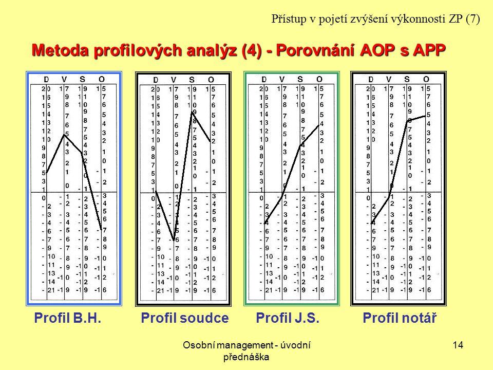 Osobní management - úvodní přednáška 14 Profil J.S.Profil B.H.Profil soudceProfil notář Metoda profilových analýz (4) - Porovnání AOP s APP Přístup v pojetí zvýšení výkonnosti ZP (7)