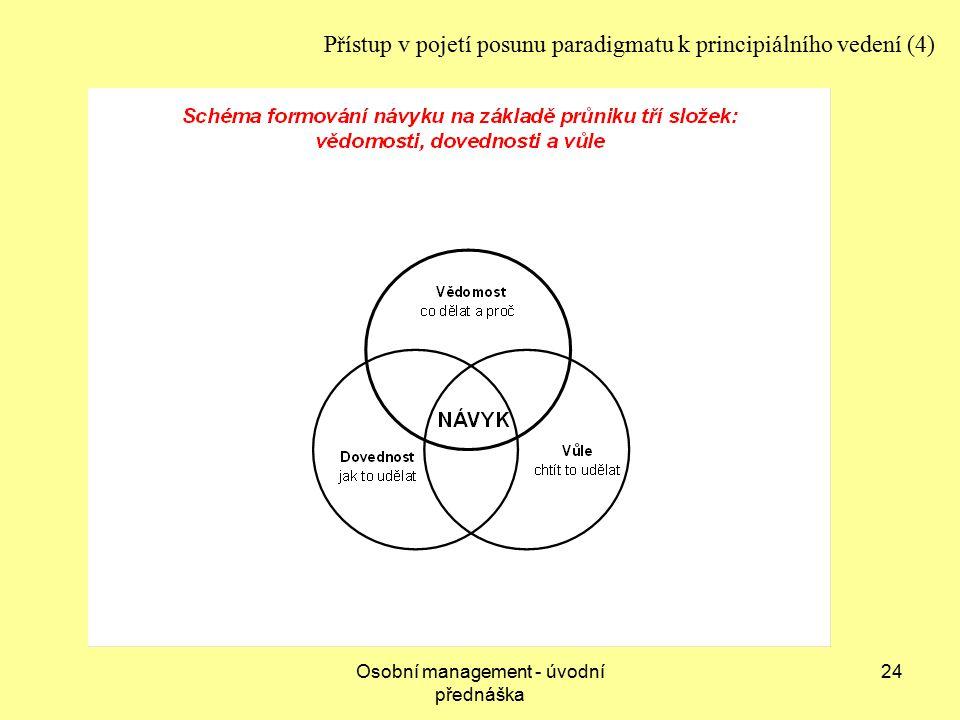 Osobní management - úvodní přednáška 24 Přístup v pojetí posunu paradigmatu k principiálního vedení (4)