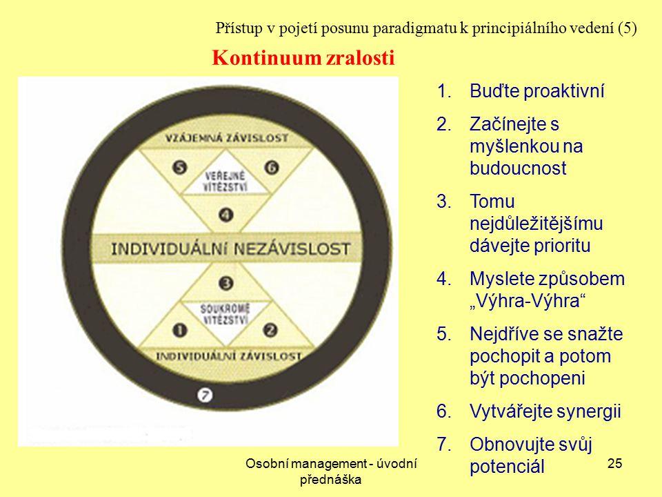 """Osobní management - úvodní přednáška 25 Přístup v pojetí posunu paradigmatu k principiálního vedení (5) 1.Buďte proaktivní 2.Začínejte s myšlenkou na budoucnost 3.Tomu nejdůležitějšímu dávejte prioritu 4.Myslete způsobem """"Výhra-Výhra 5.Nejdříve se snažte pochopit a potom být pochopeni 6.Vytvářejte synergii 7.Obnovujte svůj potenciál Kontinuum zralosti"""