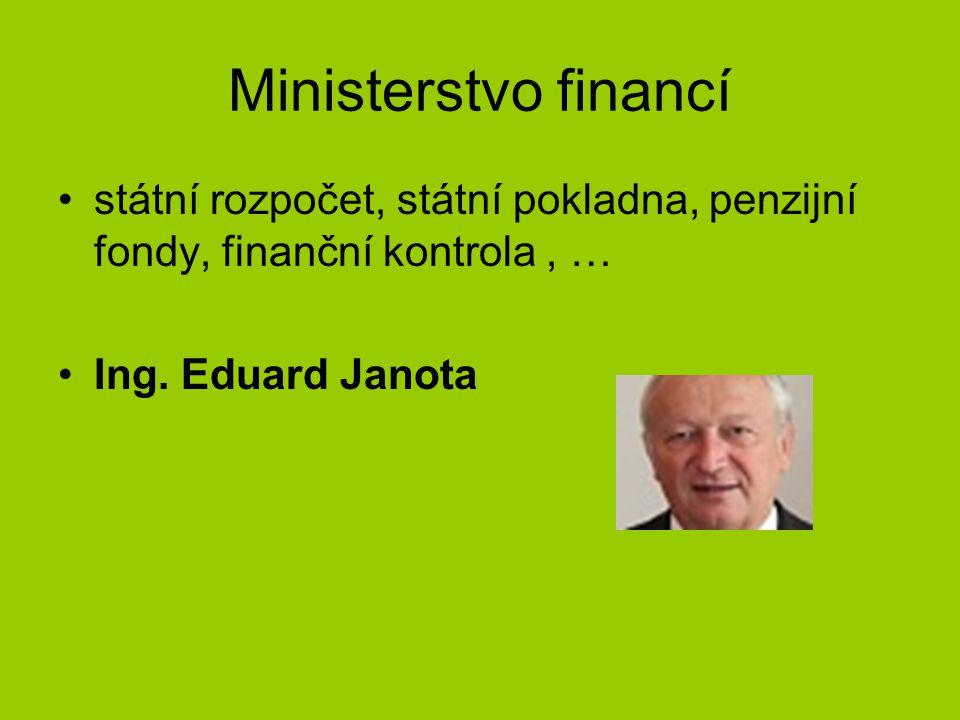 Ministerstvo financí státní rozpočet, státní pokladna, penzijní fondy, finanční kontrola, … Ing.