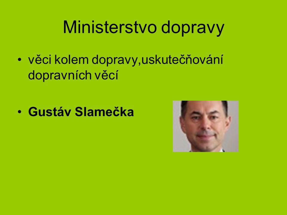 Ministerstvo dopravy věci kolem dopravy,uskutečňování dopravních věcí Gustáv Slamečka