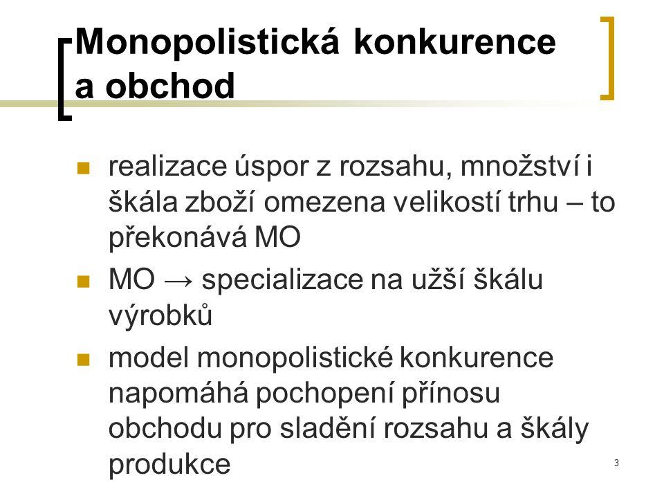 3 Monopolistická konkurence a obchod realizace úspor z rozsahu, množství i škála zboží omezena velikostí trhu – to překonává MO MO → specializace na u