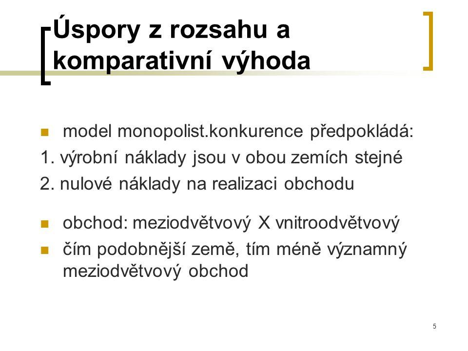 5 Úspory z rozsahu a komparativní výhoda model monopolist.konkurence předpokládá: 1. výrobní náklady jsou v obou zemích stejné 2. nulové náklady na re