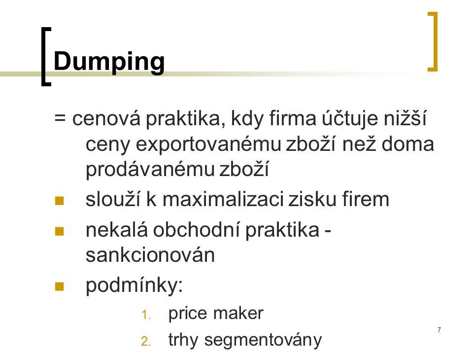 7 Dumping = cenová praktika, kdy firma účtuje nižší ceny exportovanému zboží než doma prodávanému zboží slouží k maximalizaci zisku firem nekalá obcho