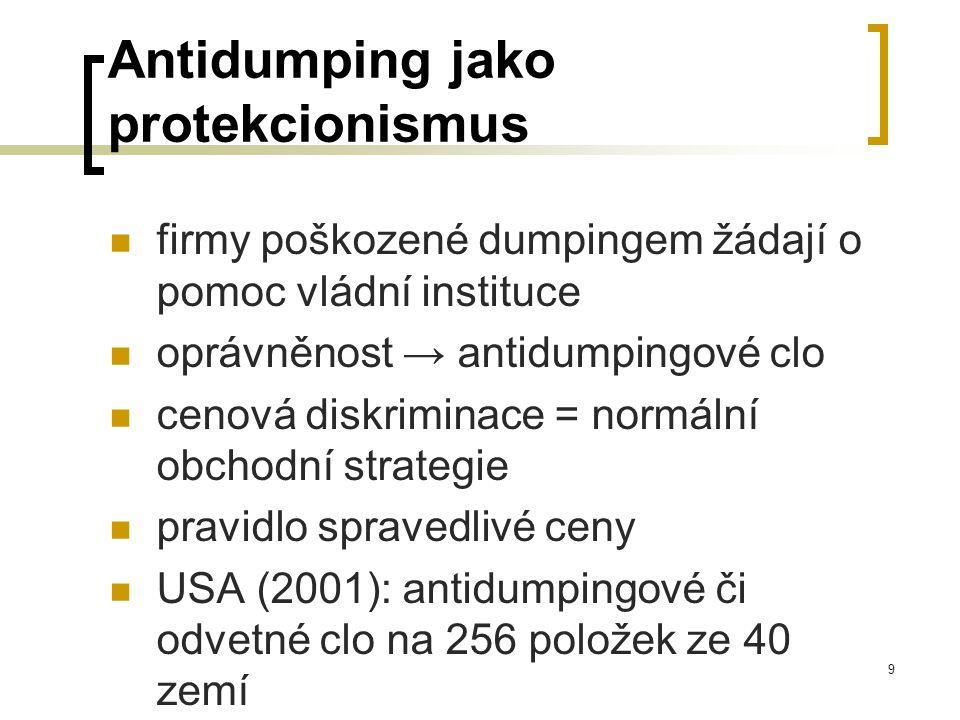 9 Antidumping jako protekcionismus firmy poškozené dumpingem žádají o pomoc vládní instituce oprávněnost → antidumpingové clo cenová diskriminace = no
