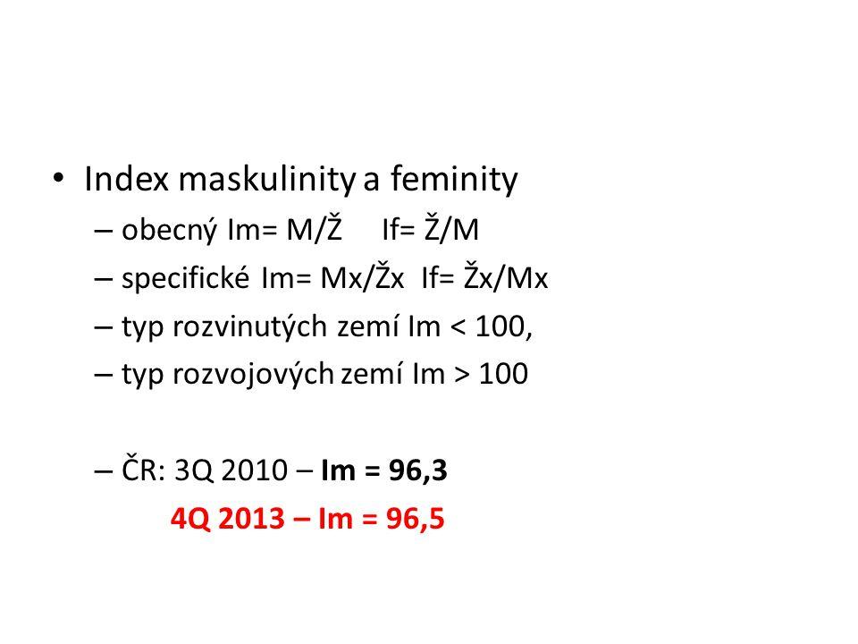Index maskulinity a feminity – obecný Im= M/Ž If= Ž/M – specifické Im= Mx/Žx If= Žx/Mx – typ rozvinutých zemí Im < 100, – typ rozvojových zemí Im > 100 – ČR: 3Q 2010 – Im = 96,3 4Q 2013 – Im = 96,5