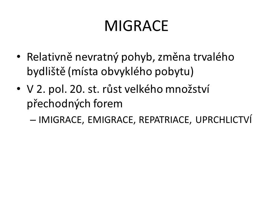 MIGRACE Relativně nevratný pohyb, změna trvalého bydliště (místa obvyklého pobytu) V 2.