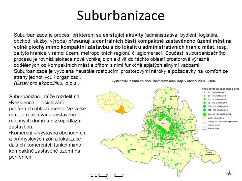 Suburbanizace Suburbanizace je proces, při kterém se existující aktivity (administrativa, bydlení, logistika, obchod, služby, výroba) přesunují z centrálních částí kompaktně zastavěného území měst na volné plochy mimo kompaktní zástavbu a do lokalit u administrativních hranic měst, resp.