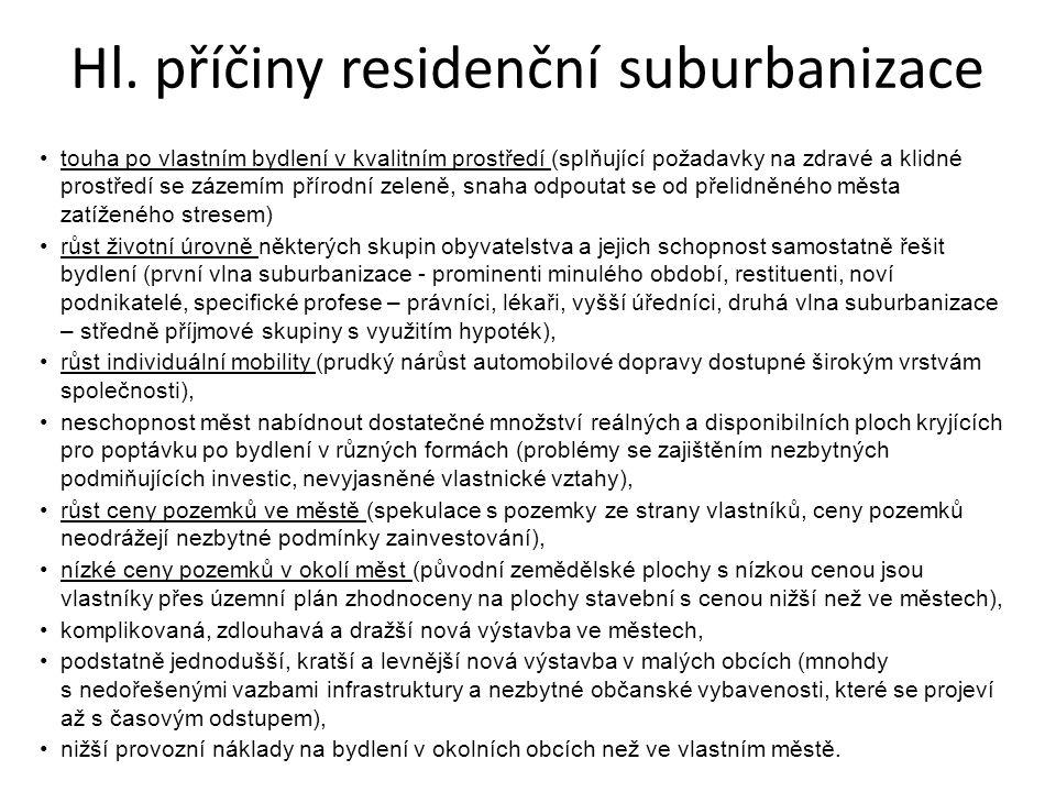 Hl. příčiny residenční suburbanizace touha po vlastním bydlení v kvalitním prostředí (splňující požadavky na zdravé a klidné prostředí se zázemím přír