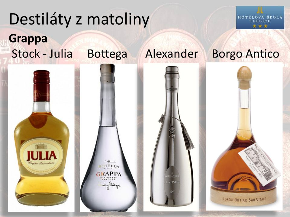 Destiláty z matoliny Grappa Stock - Julia Bottega AlexanderBorgo Antico