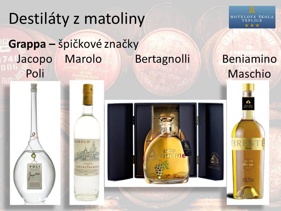 Destiláty z matoliny Grappa – špičkové značky JacopoMarolo Bertagnolli Beniamino Maschio Poli