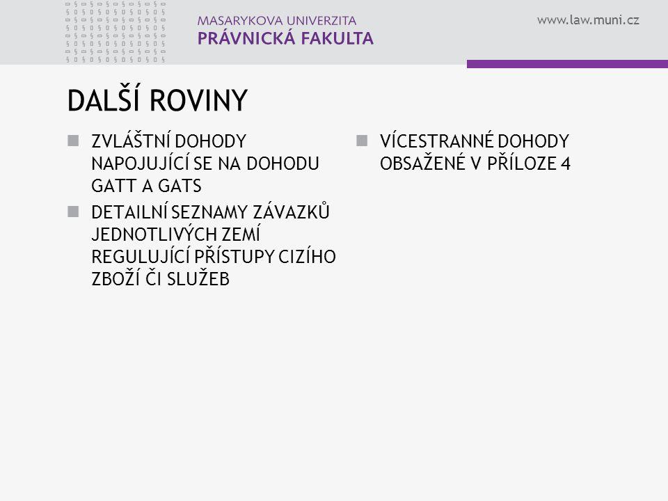 www.law.muni.cz DALŠÍ ROVINY ZVLÁŠTNÍ DOHODY NAPOJUJÍCÍ SE NA DOHODU GATT A GATS DETAILNÍ SEZNAMY ZÁVAZKŮ JEDNOTLIVÝCH ZEMÍ REGULUJÍCÍ PŘÍSTUPY CIZÍHO