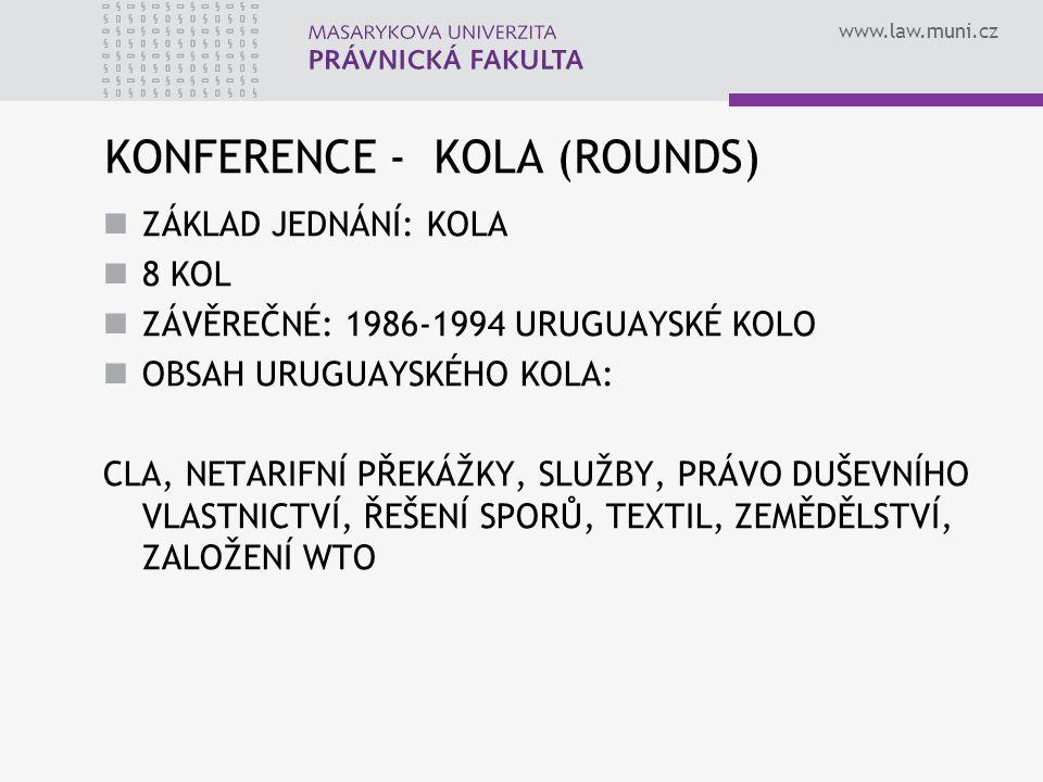 www.law.muni.cz KONFERENCE - KOLA (ROUNDS) ZÁKLAD JEDNÁNÍ: KOLA 8 KOL ZÁVĚREČNÉ: 1986-1994 URUGUAYSKÉ KOLO OBSAH URUGUAYSKÉHO KOLA: CLA, NETARIFNÍ PŘE
