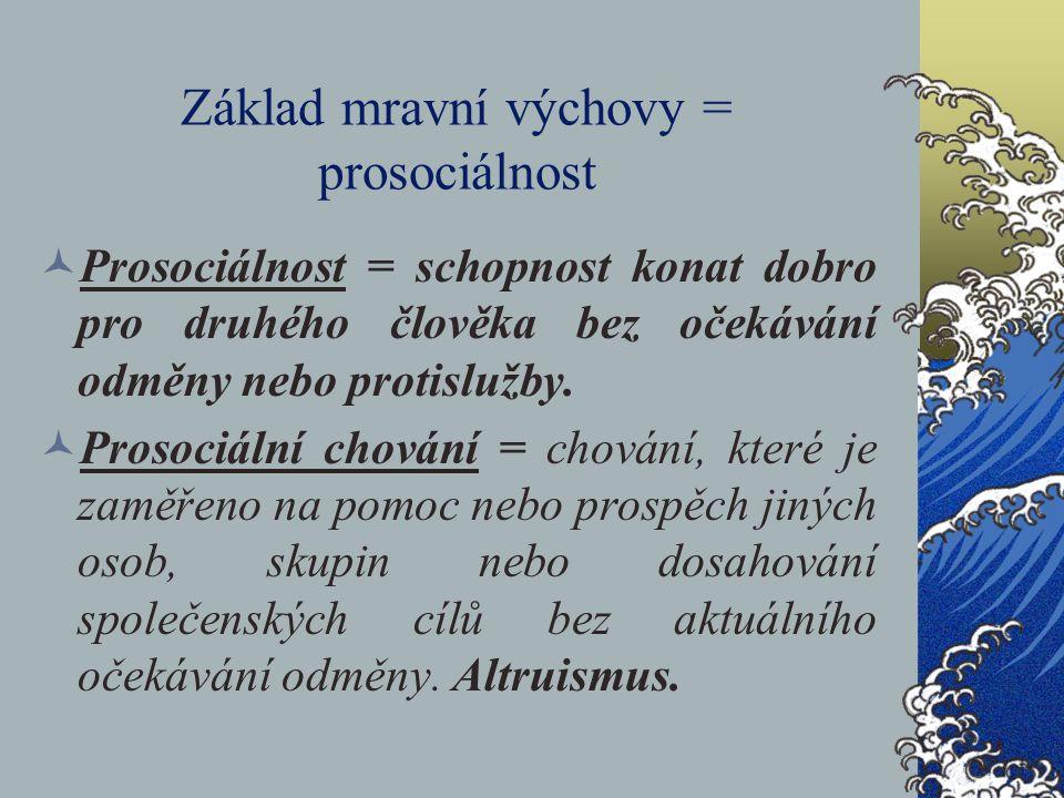 Základ mravní výchovy = prosociálnost Prosociálnost = schopnost konat dobro pro druhého člověka bez očekávání odměny nebo protislužby. Prosociální cho