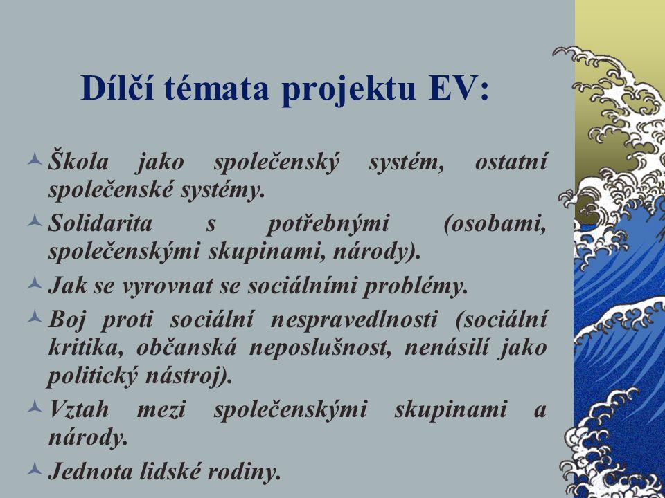 Dílčí témata projektu EV: Škola jako společenský systém, ostatní společenské systémy. Solidarita s potřebnými (osobami, společenskými skupinami, národ