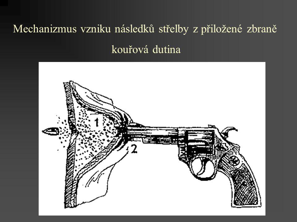 Mechanizmus vzniku následků střelby z přiložené zbraně kouřová dutina